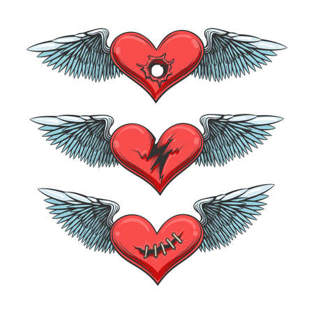 Winged Hearts Tattoo Set. love hurts concept. Torn, shot and stitched heart. Vector illustration.