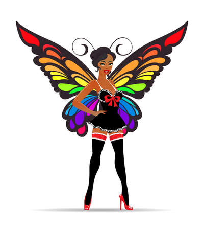 Beautiful Girl in lingerie set with Butterfly wings. Fashion Emblem. Vector illustration. Illusztráció