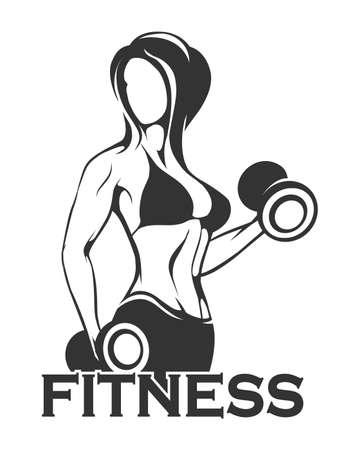 Fitness Emblem presenting Female bodybuilder lifting dumbbells silhouette isolated on white background. Vector illustration.