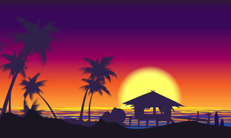 Tropical Sunset Landscape with Palm trees seashore. Vector illustration.