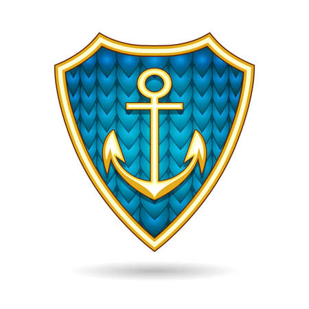 Ship Anchor on the fish scale shield. nautical Emblem. Vector illustration.