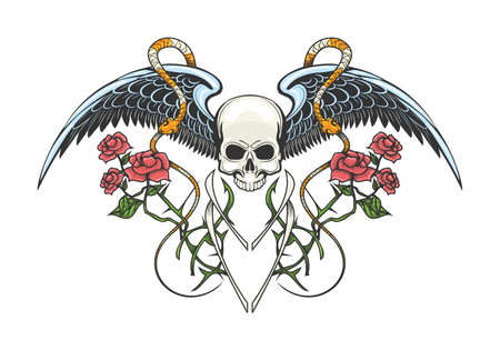 Colorful Tattoo of Human skull, snakes and rose branches. vector illustration.