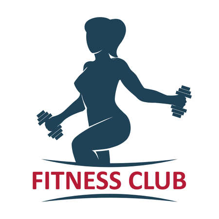 Fitness Gym Logo presenting athletic woman lifting weights. vector illustration. 일러스트