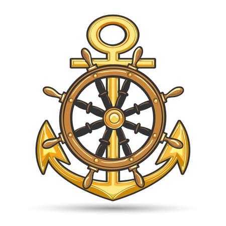 Nautical emblem with anchor and steering wheel. Shirt design, marine label or poster template. Vector illustration.