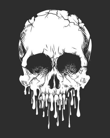 Zombie Skull isolated on black background. Shirts, sticker and poster Design template. Vector illustration 일러스트