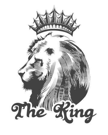 Lion Head with Crown and inscription The King drawn in engraving style. Vector illustration. 일러스트