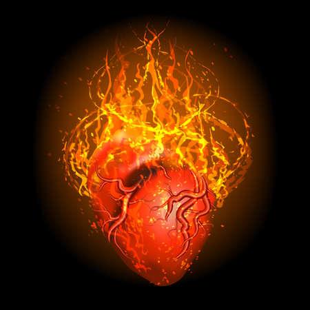 Burning Heart on black background. Vector illustration.