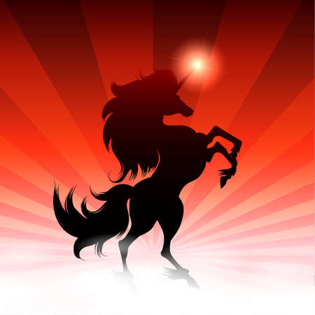 Black Unicorn and shining Star on Colorful background. Vector Illustration.