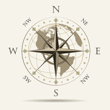 Navigation Emblem of Wind Rose. vector Illustration.