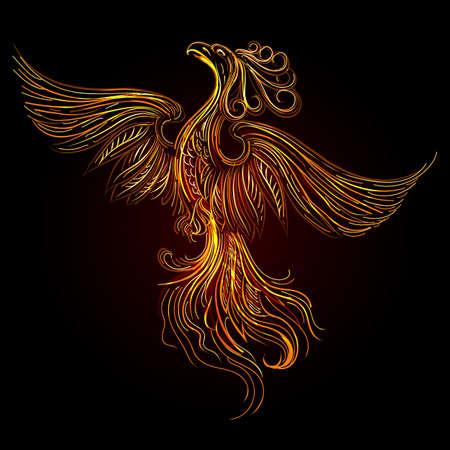 Rising Fire burning Phoenix Bird on Black Background. Vector Illustration.