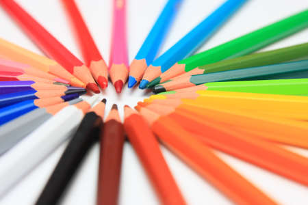 crayons in a circle Stock Photo
