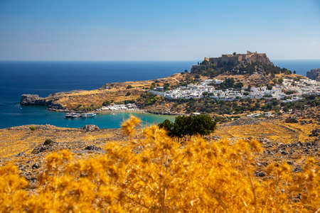Lindos / Rhode Island / Greece with castle and bay Reklamní fotografie