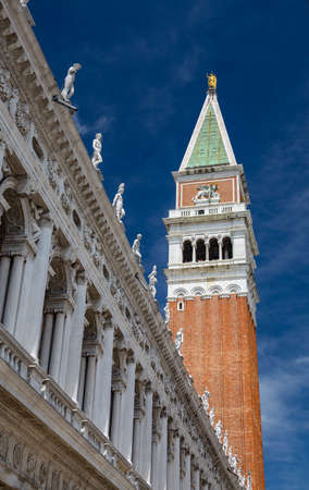 Facade of the Biblioteca Nazionale Marciana with Campanile, Venice / Italy