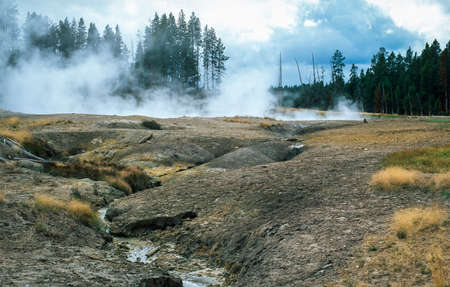 Colorful hot spring pools in Yellowstone Park