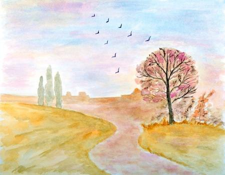 Autumnal Landscape Watercolor Hand Painted  photo