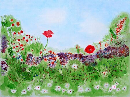 Wild Summer Flowers on Meadow Watercolor Hand Painted photo