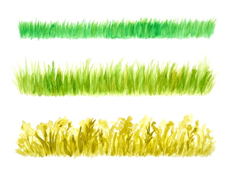 watercolor technique: Three Grass Border Pieces Watercolor Hand Painted, Isolated on White Stock Photo