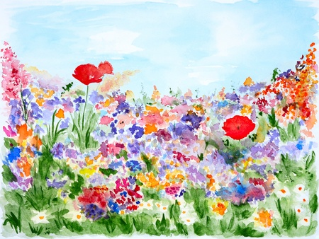 Summer Flowers in Garden Watercolor Hand Painted photo
