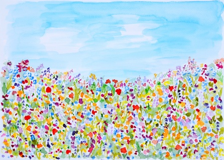 Wild Summer Flowers Watercolor Hand Painted  photo