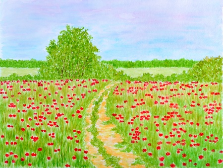 Country Summer Flowers Meadow or Field Landscape Watercolor Hand-Painted Stock Photo