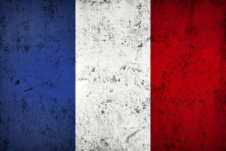 frazzled: Grunge Dirty and Weathered French Flag, Old Metall Textured Stock Photo