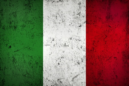 Grunge Dirty and Weathered Italian Flag, Old Metall Textured
