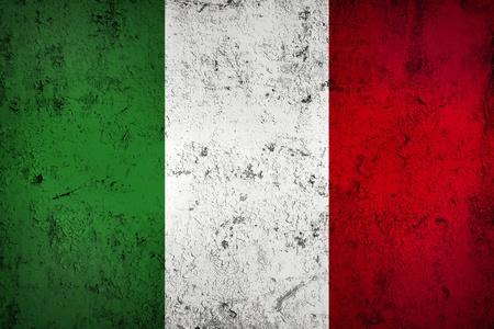 bandera italiana: Grunge sucio y Degradado Bandera italiana, Antiguo Metall textura Foto de archivo