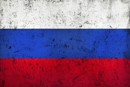 frazzled: Grunge Dirty and Weathered Russian Flag, Old Metall Textured