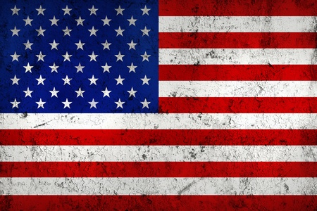 used: Grunge Dirty and Weathered  USA (American) Flag, Old Metal Textured Stock Photo