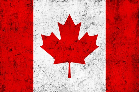 Grunge Dirty and Weathered Canadian Flag, Old Metal Textured photo