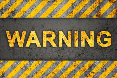 warnings: Grunge Black and Orange Pattern with Warning Text, Old Metal Textured Stock Photo