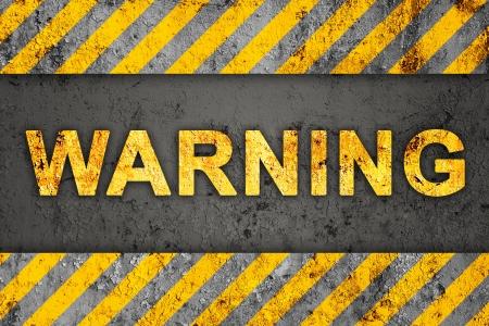 Grunge Zwart-oranje patroon met waarschuwing tekst, Oude Metalen Textured