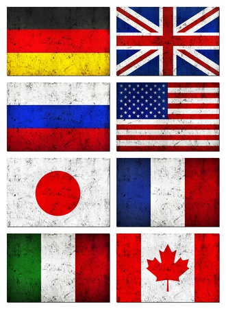 Grunge Dirty and Weathered Great 8  G8  Countries Flag, Old Metal Textured photo