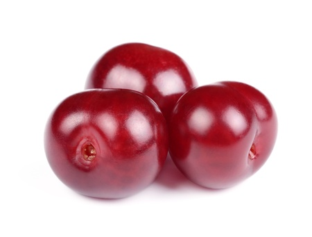 isolated spot: Group of Sweet Fresh Cherries Isolated on White Background
