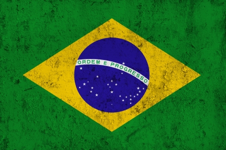 frazzled: Grunge Dirty and Weathered Brazilian Flag, Old Metal Textured