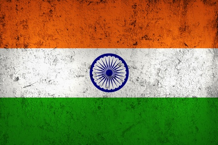 vintage grunge image: Grunge Dirty and Weathered Indian Flag, Old Metal Textured