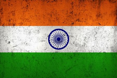 bandera de LA INDIA: Grunge sucio y Degradado Bandera de la India, de metal con textura Antiguo Foto de archivo