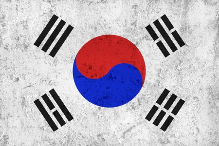 Grunge Dirty and Weathered South Korean Flag, Old Metal Textured photo