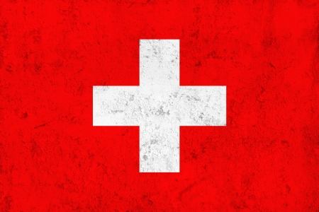swiss insignia: Grunge Dirty and Weathered Swiss Flag, Old Metal Textured Stock Photo