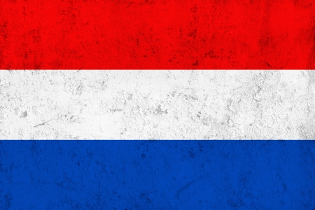Grunge Dirty and Weathered Netherlands Flag, Old Metal Textured photo