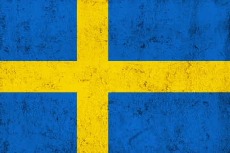 swedish: Grunge Dirty and Weathered Swedish Flag, Old Metal Textured