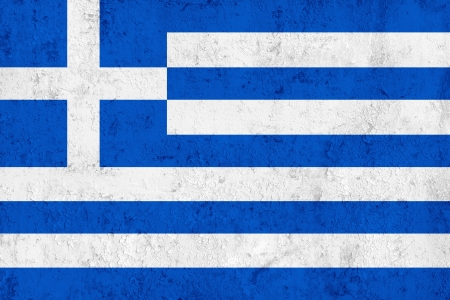 Grunge Dirty and Weathered Greek Flag, Old Metal Textured photo