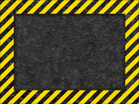 Grunge Black and Yellow Surface as Warning or Danger Frame, Old Metal Textured photo