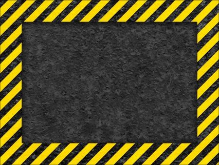 Grunge zwarte en gele Surface als Waarschuwing of gevaar Frame, Old Metal Textured Stockfoto