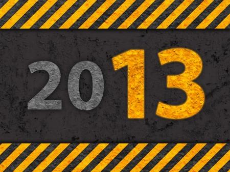 Grunge Black and Orange Pattern with Warning Text 2013, Old Metal Textured photo