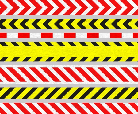 diagonal lines: Set of Caution Tapes and Warning Signs