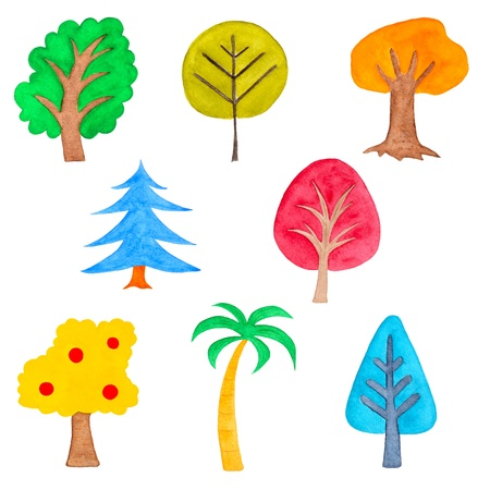drawing trees: Set of Colorful Simple Trees, Watercolor Hand Drawn and Painted, Isolated on White Stock Photo
