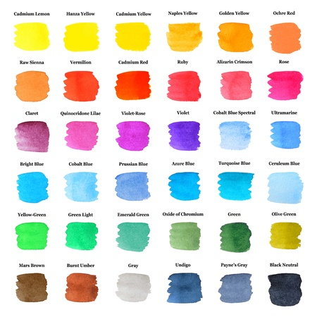 spatters: Set of Colorful Strokes as Watercolor Palette with Names, Hand Drawn and Painted, Isolated on White Stock Photo