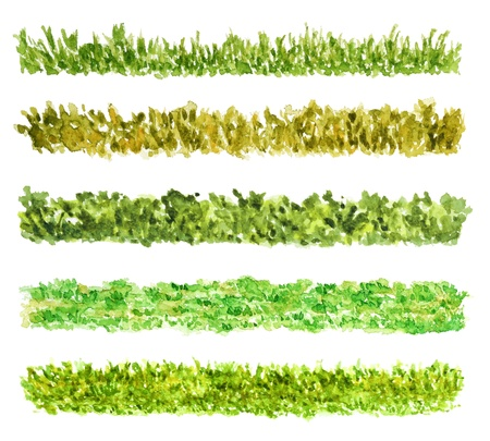 watercolor technique: Five Grass Border Pieces Watercolor Hand Drawn and Painted, Isolated on White