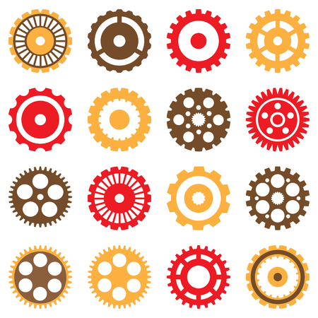 sprocket: Set of Vector Mechanical Various Gears Illustration